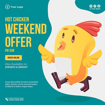 Hot chicken weekend offer banner template