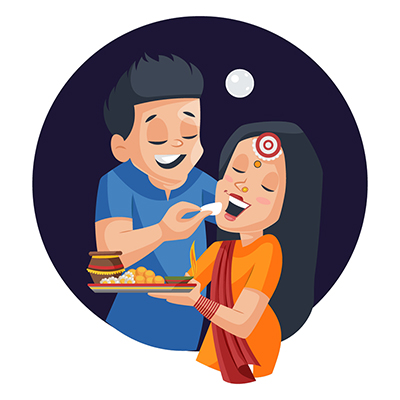 Husband is feeding sweets to his wife