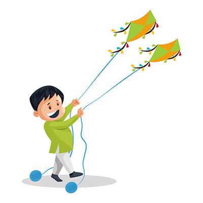 Illustration of a boy is flying kites