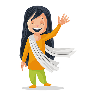 Illustration of a girl is waving her hand