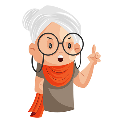 Illustration of a granny is giving advice