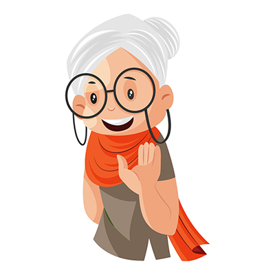 Illustration of a granny is waving hand