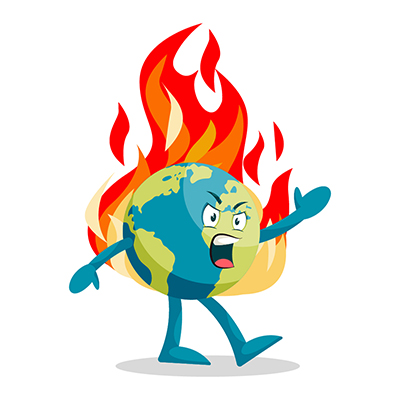 Illustration of an Earth is angry
