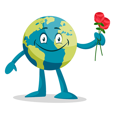 Illustration of an Earth is with red rose