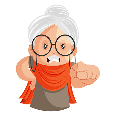 Illustration of an angry granny