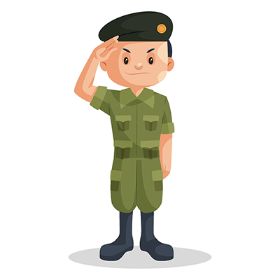 Illustration of an army boy giving a salute