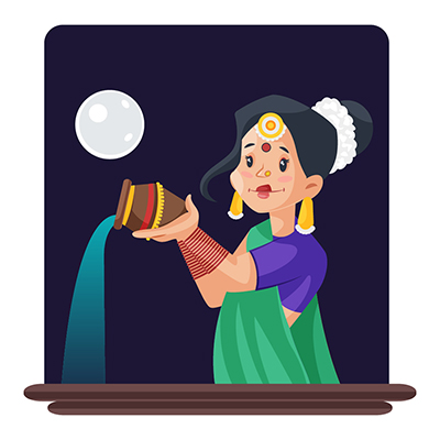 Indian woman is giving water to moon with pot