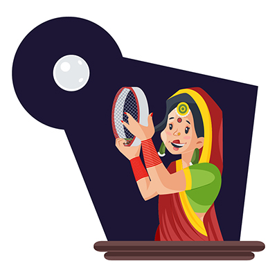 Indian woman is seeing moon with sieve