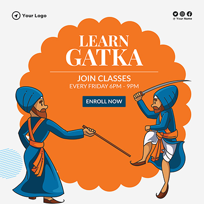 Learn gatka on a banner design template