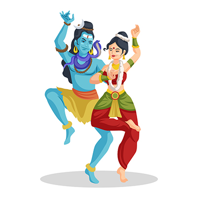 Lord Shiva is dancing with Goddess Parvati
