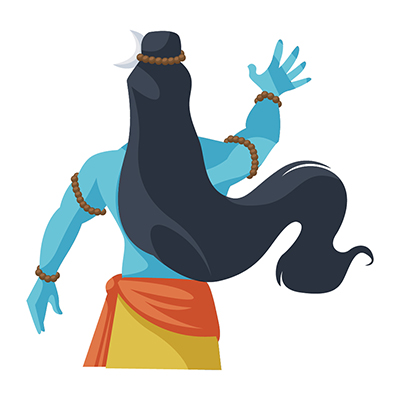 Lord Shiva is standing in back pose