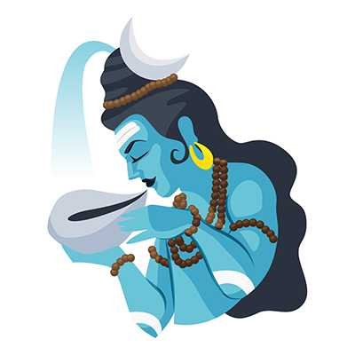 Lord Shiva is swallowing poison