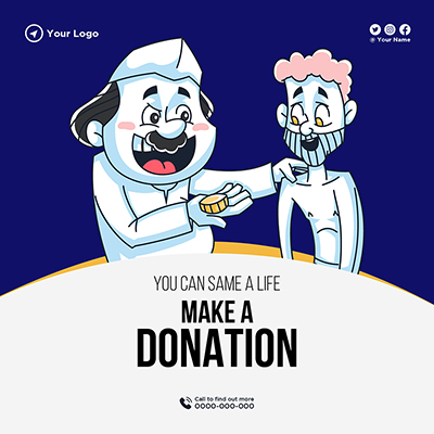 Make a donation you can save a life banner template