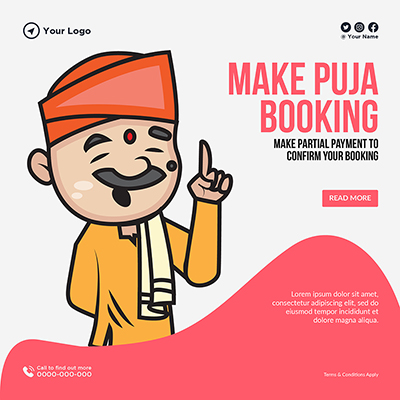 Make puja booking template banner design
