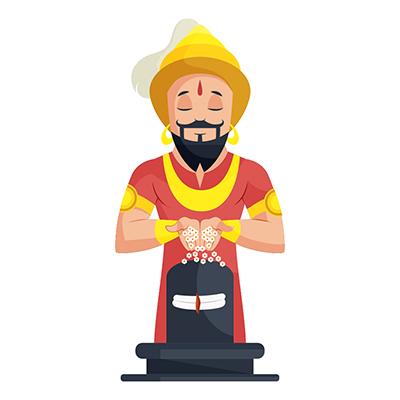 Man is praying to Lord Shiva