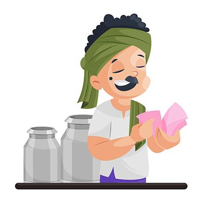 Milkman illustration is counting money