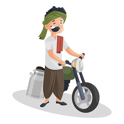 Milkman is going for milk supply on bike