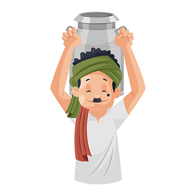 Milkman is holding milk can on shoulders