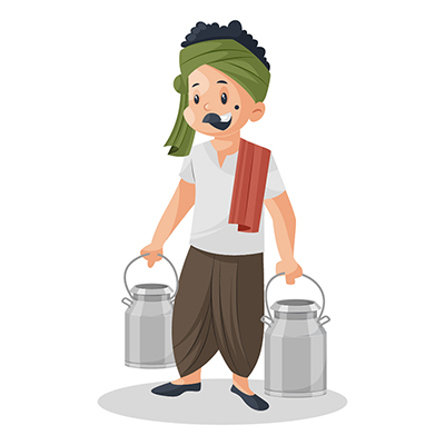 Milkman is holding milk cans in both hands