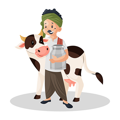 Milkman holding milk can and standing with cow