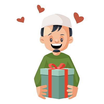 Muslim boy is happy to see Eid gift