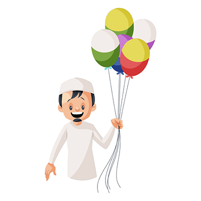 Muslim boy is holding balloons in hand