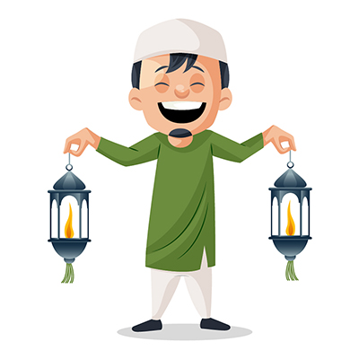 Muslim boy is holding lanterns in hands