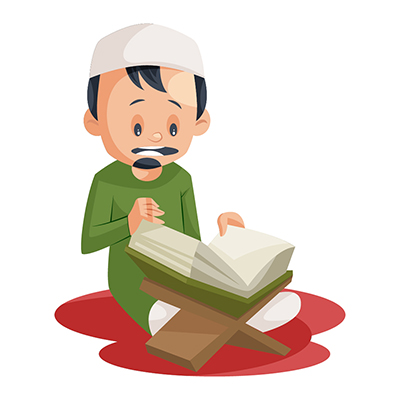 Muslim boy is reading the Quran
