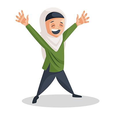 Muslim girl illustration is happy