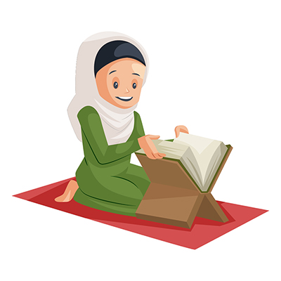 Muslim girl is reading the Quran