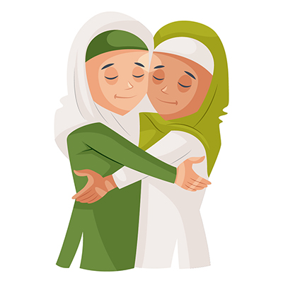 Muslim girls are hugging each other
