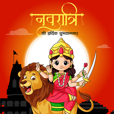 Navratri wishes in Hindi calligraphy banner template