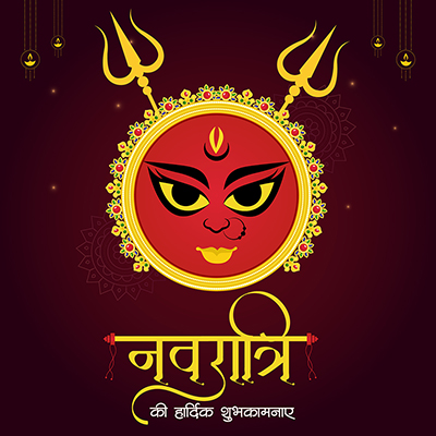 Navratri wishes in Hindi calligraphy template