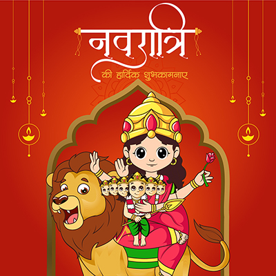 Navratri wishes in Hindi typography banner template