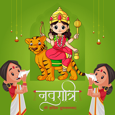 Navratri wishes in Hindi typography template
