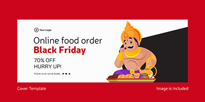 Online food order black friday template cover