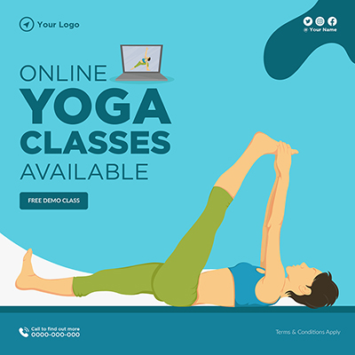 Online yoga classes available banner template