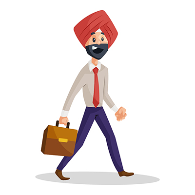 Punjabi businessman holding briefcase and going office