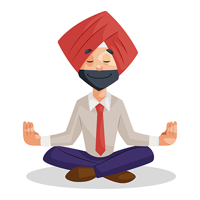 Punjabi businessman is doing meditation