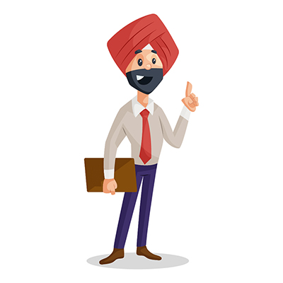 Punjabi businessman is holding a file