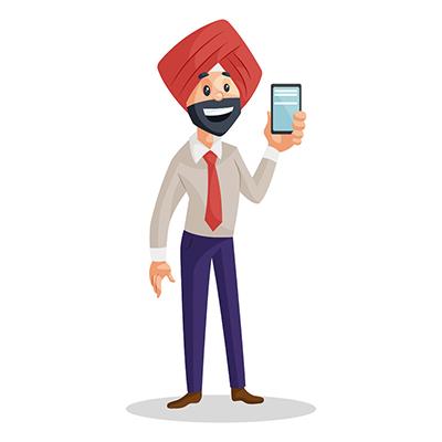 Punjabi businessman is showing a mobile