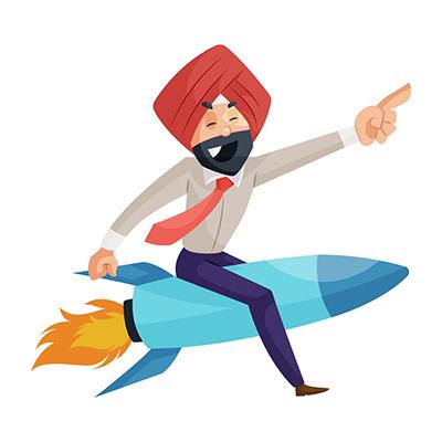 Punjabi businessman is sitting on the rocket