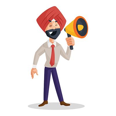 Punjabi businessman is speaking in megaphone