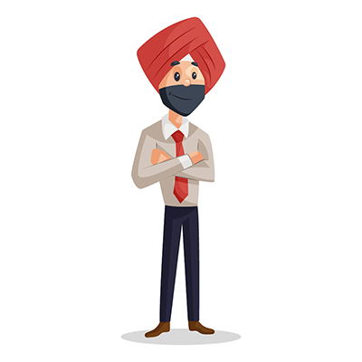 Punjabi businessman is standing in style