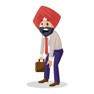 Punjabi businessman is tired from work