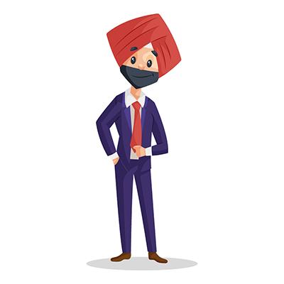 Punjabi businessman is wearing coat and pant