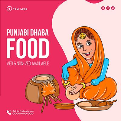 Punjabi Dhaba food veg and non-veg banner template