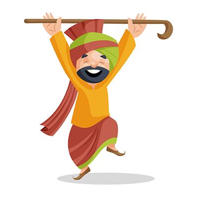 Punjabi Sardar is doing bhangra dance