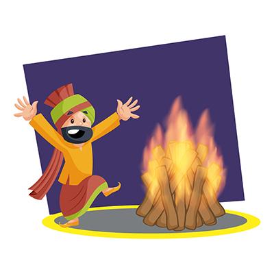 Punjabi Sardar is celebrating Lohri