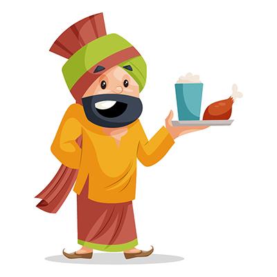 Punjabi Sardar is holding food plate in hand